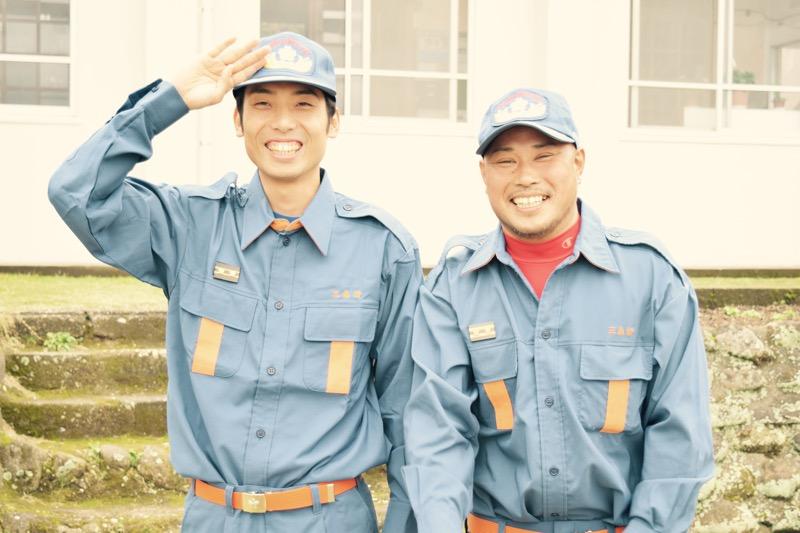 竹島消防団、竹島小中学校に出動!離島の避難訓練。
