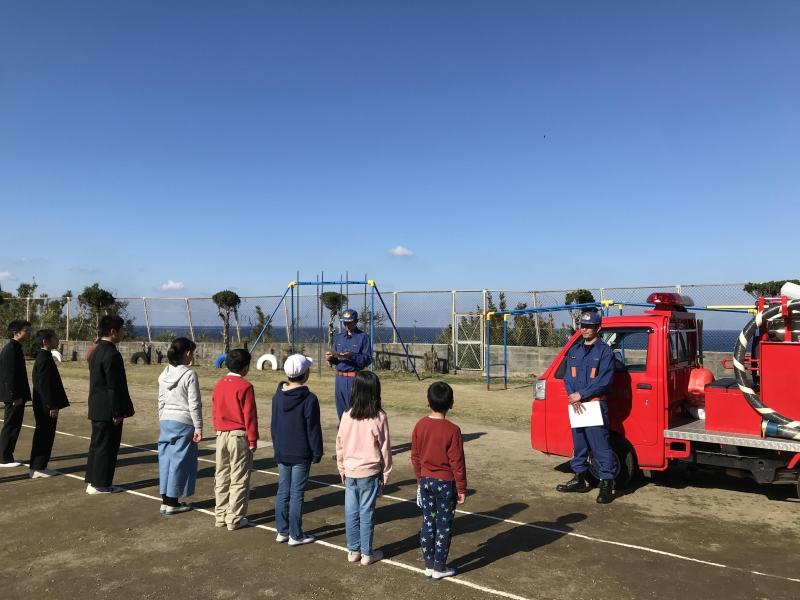 竹島小中学校の避難訓練に出動!離島の消防団。