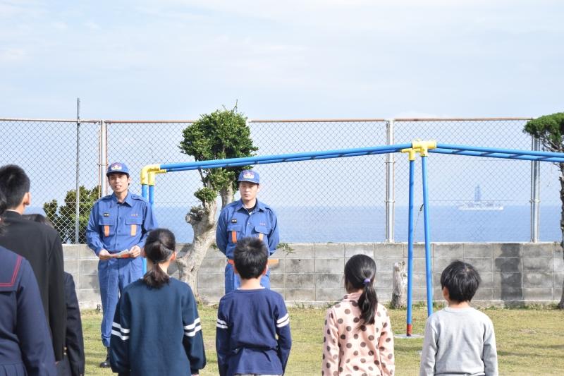 竹島小中学校の避難訓練に行ってきました!