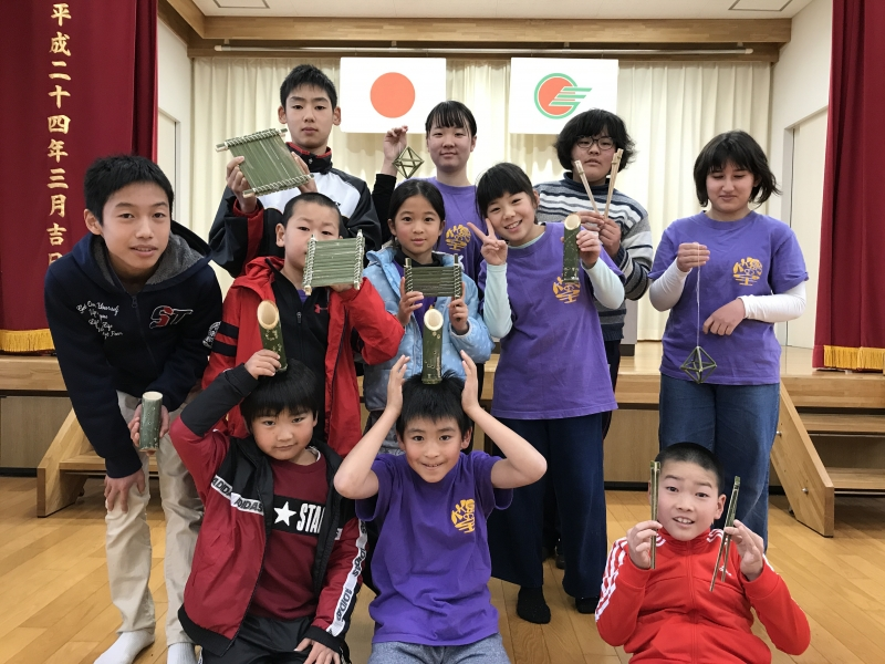 竹島の子どもたちと竹細工!